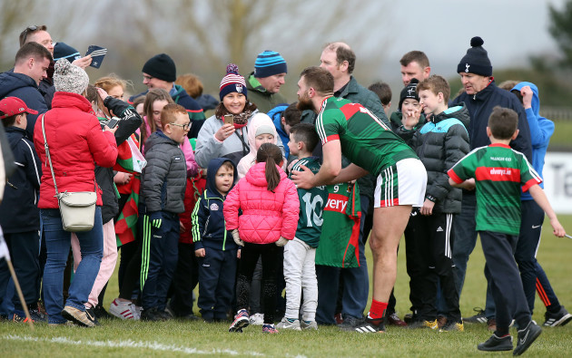 Aidan O'Shea stays for pictures with fans after the final whistle