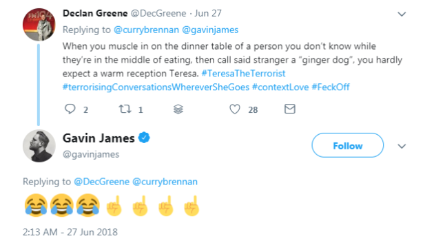 Gavin James shut down a fan on Twitter for calling him rude