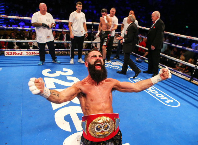 Jono Carroll celebrates winning