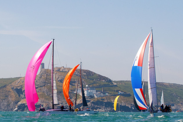 Boats at the start of the race at Wicklow Head