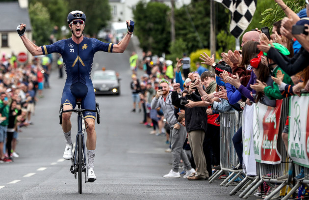 Conor Dunne celebrates winning the race