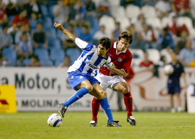 Stuart Byrne with Juan Carlos Valeron