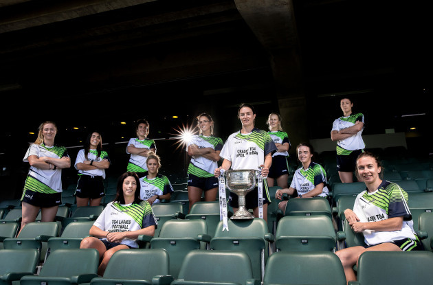 Players at yesterday's TG4 All-Ireland Championship launch.