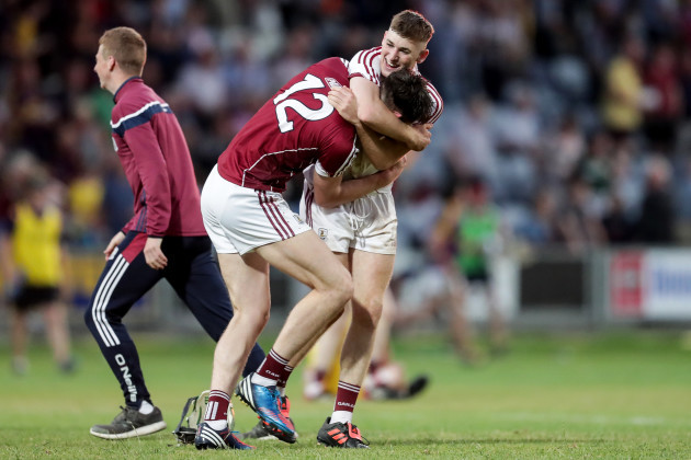 Cianan Fahy and Eanna Murphy celebrate after the final whistle