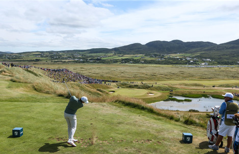 Rory McIlroy tees off at the seventh hole