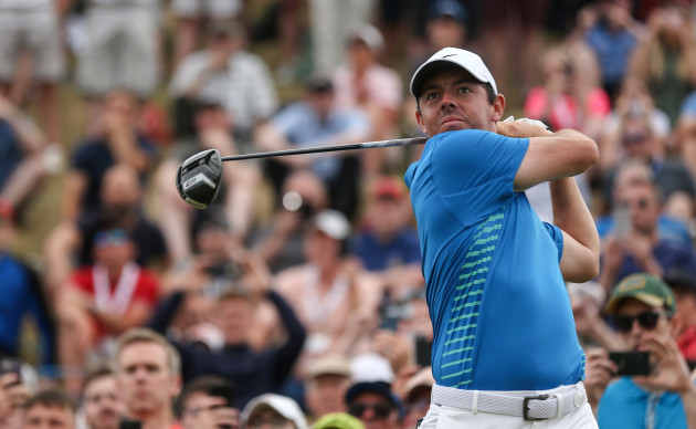 Rory McIlroy tees off on the 8th