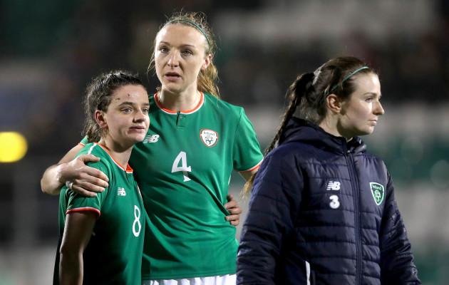 Leanne Kiernan and Louise Quinn dejected