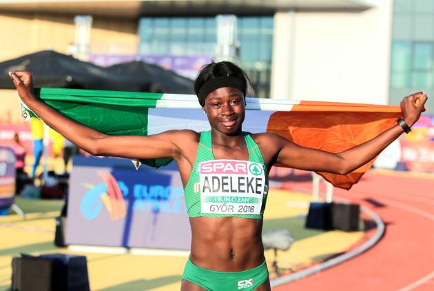 Rhasidat Adeleke celebrates winning gold