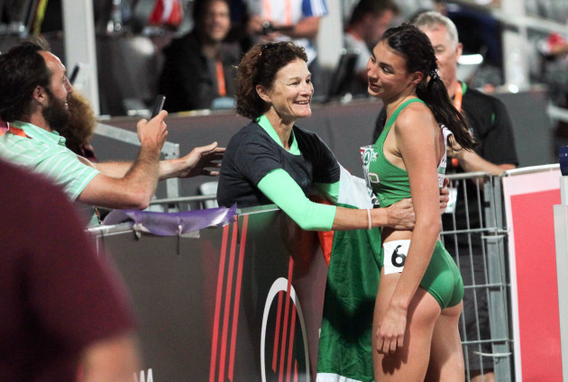 Sophie O'Sullivan celebrates coming second with her mother Sonia