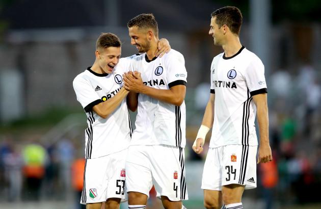 Sebastian Szymanski and Mateusz Wieteska celebrate