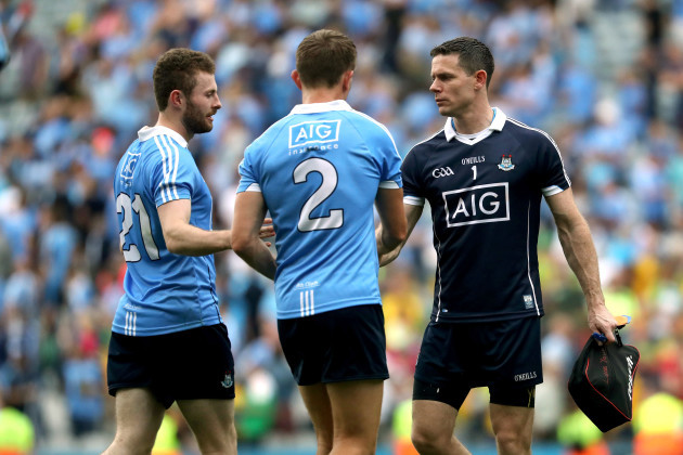 Jack McCaffrey, Michael Fitzsimons and Stephen Cluxton after the game