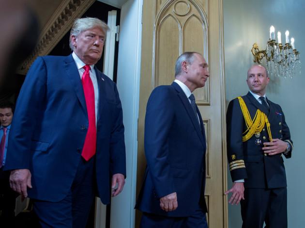 American president Donald Trump and Russian president Vladimir Putin during the meeting in Helsinki.