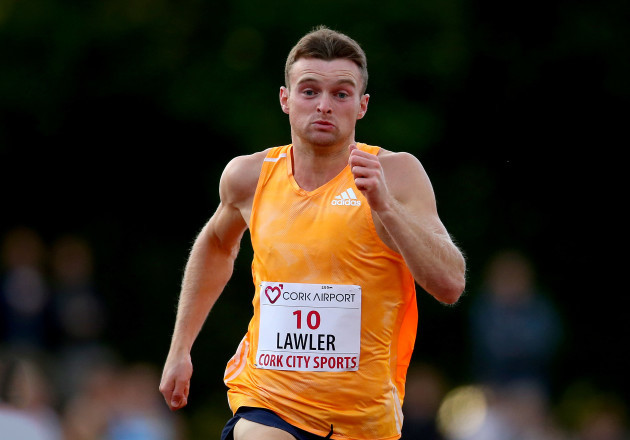 Marcus Lawlor sets a personal best in the mens 200m