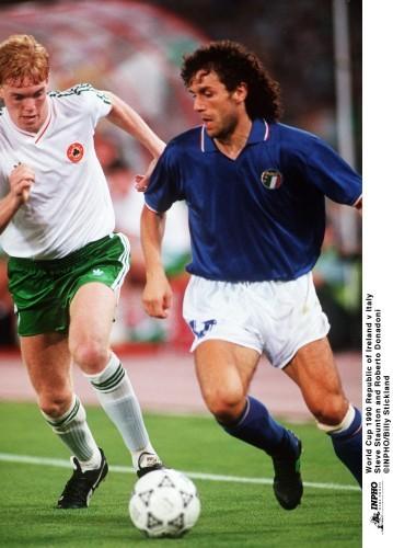 Steve Staunton and Roberto Donadoni1990