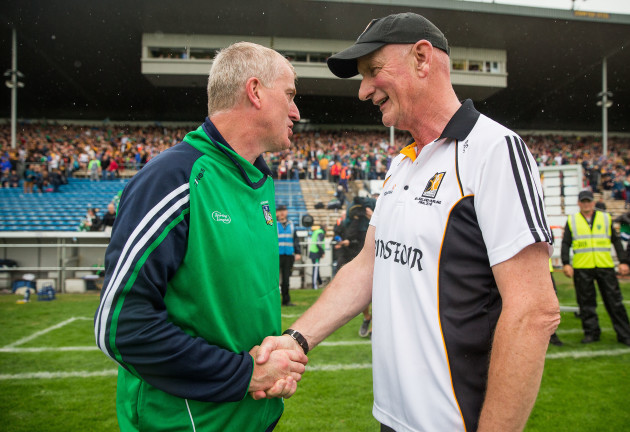 John Kiely shakes hands with Brian Cody after the game