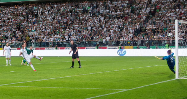 Miroslav Radovic scores his sides second goal from the penalty spot