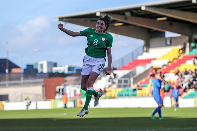 Leanne Kiernan celebrates scoring her sides first goal
