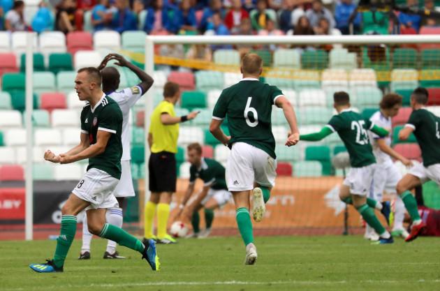 Rory Hale celebrates Ally Roy's goal