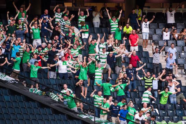 Shamrock Rovers fans celebrate Daniel Carr's goal