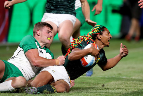 South Africa's Justin Geduid and Ireland John O'Donnell