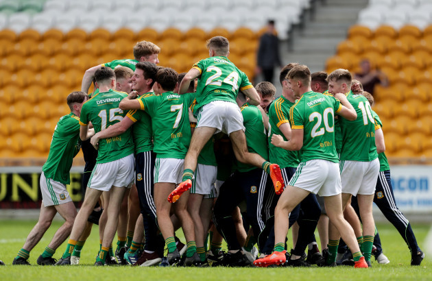 Meath players celebrate after the final whistle