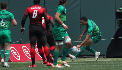 reland's Jordan Conroy scores his first try