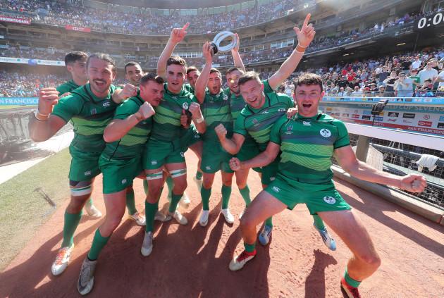 Ireland' team celebrate winning the Challenge Cup