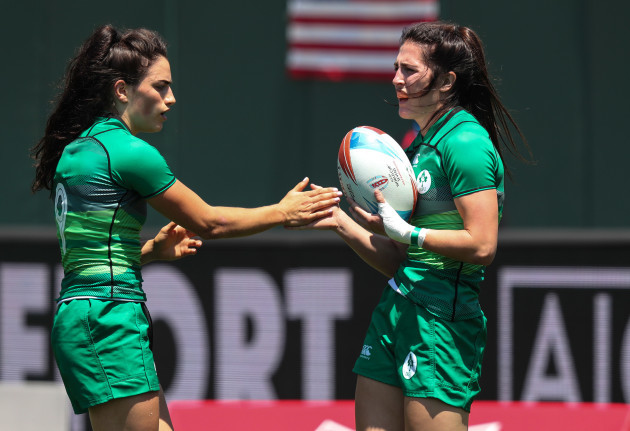 Ireland's Amee Leigh Murphy Crowe congratulated by Lucy Mulhall after she scored a try