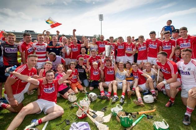 Cork celebrate winning the game