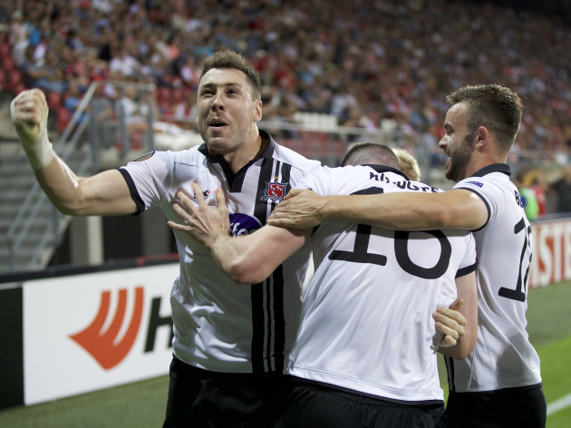 Ciaran Kilduff celebrates scoring the equaliser with Brian Gartland