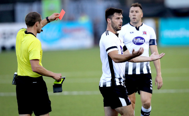 Patrick Hoban is red carded by Referee Harald Lechner