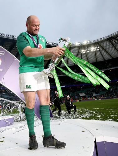 Rory Best celebrates winning