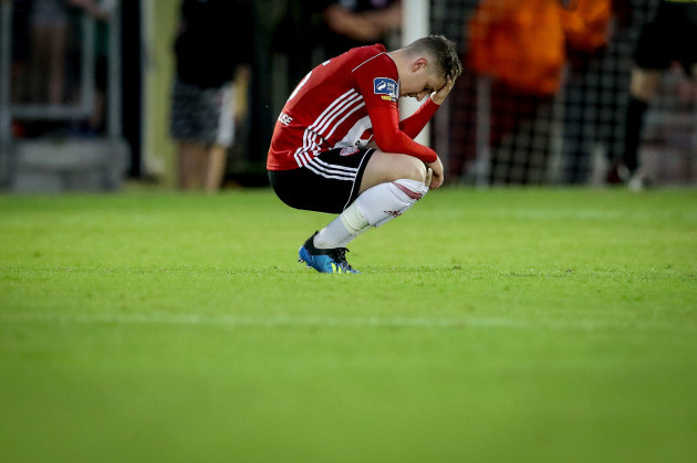 Ronan Hale dejected at the final whistle