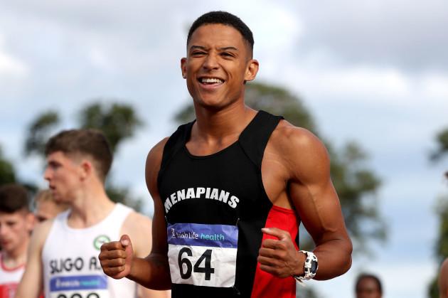 Leon Reid celebrates winning the Men's 100m Final
