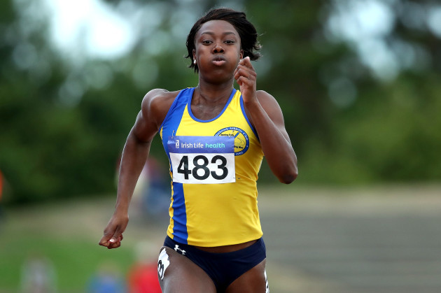 Gina Akpe-Moses on her way to winning the Women's 100m Final