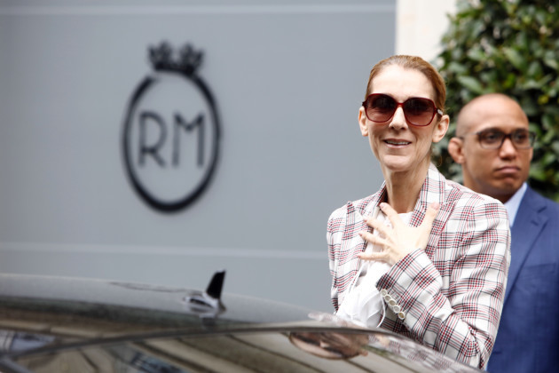 France: Pepe Munoz and Celine Dion leave the hotel Royal Monceau in Paris