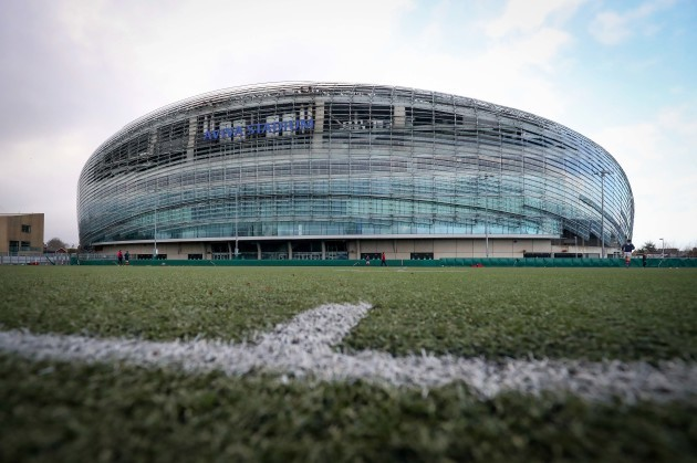 A general view of the Aviva Stadium back pitch