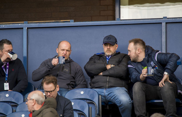 Matt Taylor, Gregor Townsend, Dan McFarland and Gavin Vaughn take in the game
