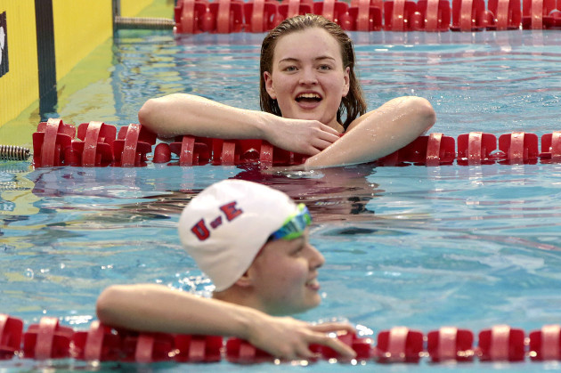 Mona McSharry after winning the women's 50m Freestyle and set a new national record