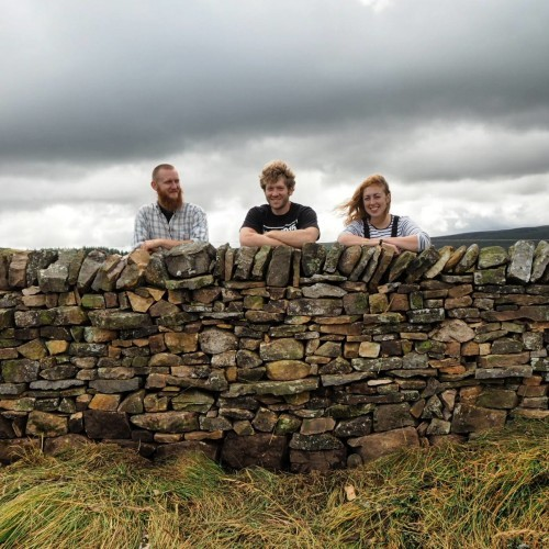 Triona Byrne with a section of dry stone wall she built in the UK