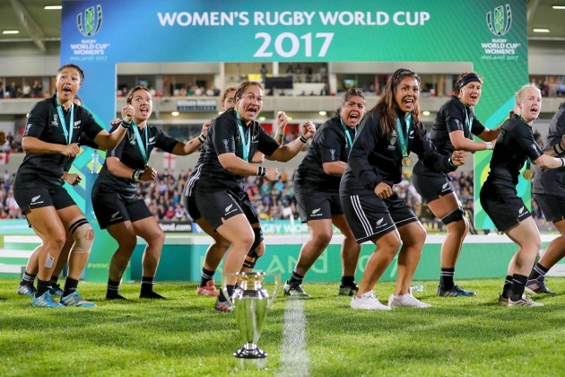 New Zealand perform the Haka after winning the 2017 Women's Rugby World Cup