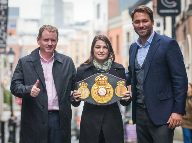 Katie Taylor pictured with her WBA Lightweight Belt  alongside Brian Peters and Eddie Hern