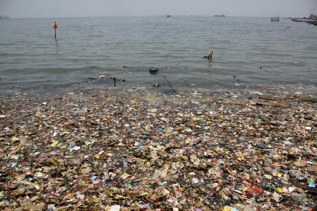 Indonesia: Plastic waste is seen on the north coast of Jakarta