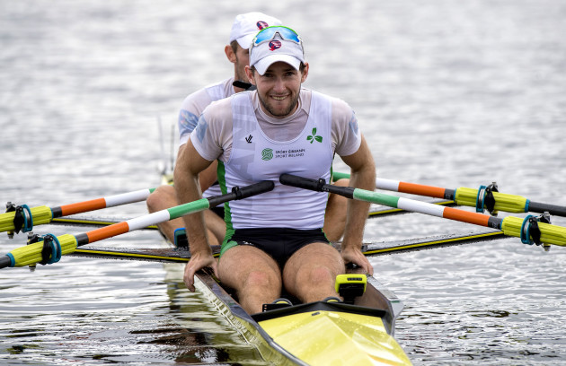 Paul O'Donovan (front) and Gary O'Donovan after winning the race