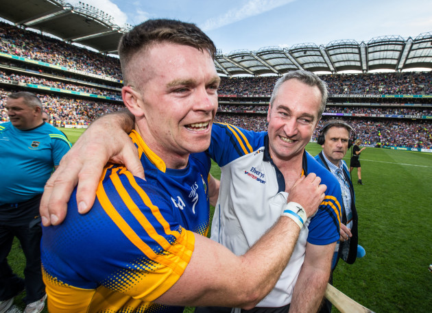 Michael Ryan celebrates with Padraic Maher