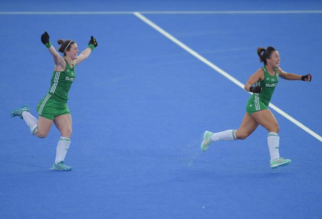 Roisin Upton and Anna O'Flanagan celebrate winning the shootout