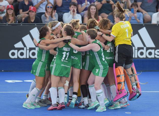 Ireland celebrate winning the shootout