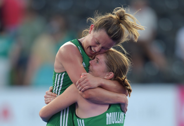 Nicola Evans and Katie Mullan celebrate at fulltime