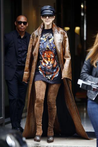 France: Canadian singer Celine Dion leaves her hotel in Paris