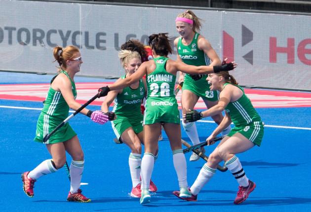 Anna O'Flanagan celebrates scoring their first goal off a penalty corner